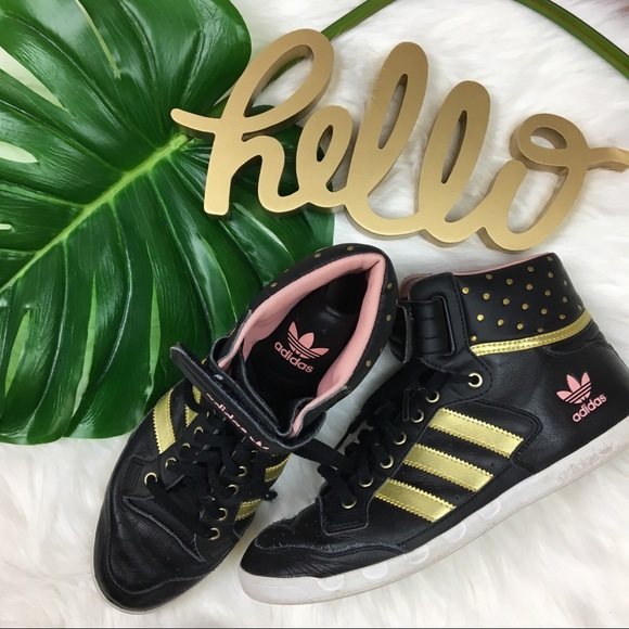 premium selection 36632 0d66a adidas Shoes - Adidas Ladies Centenia High-tops Black Gold Pink 9